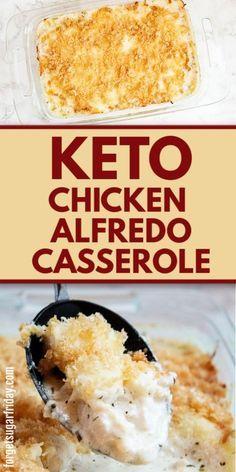 This Keto Chicken Alfredo Casserole recipe is a SUPER delicious keto dinner recipe! You will love digging into this easy keto chicken recipe with creamy alfredo sauce and a cheesy, crunchy baked topping. Low Carb Lunch, Low Carb Dinner Recipes, Delicious Dinner Recipes, Keto Dinner, Lunch Recipes, Dessert Recipes, Low Sugar Recipes, Healthy Low Carb Recipes, Smoothie Recipes
