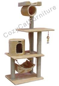 """Play Kitty Cat Gym wiht Cat Hammock  - Overall size 62""""Hx36""""Lx20""""W  - Board material pressed wood  - Covering material faux fur  - Base and two other plates 26""""x20""""  - Max holding weight 30lbs  - One cat condo 12""""Wx14""""H with one 6""""Wx8""""H entries and one 6"""" round entry  - One tunnel 9""""Wx10""""L   - One large nest 14""""x14""""x2""""  - Six sisal cat scratching posts. They measure 3.5"""" and are wrapped in 1/4"""" sisal rope  - One large size hammock that can hold cats up to 25lbs  - 1""""thick sisal play rope"""