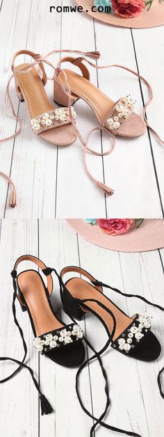 32a354a77a42 Faux Pearl And Studded Decorated Lace Up Sandals Latest Street Fashion