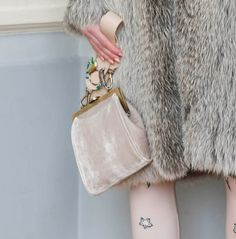 Spotted bag trend: Velvet bags at Alena Akhmadullina Fall Winter 2018 NYFW.
