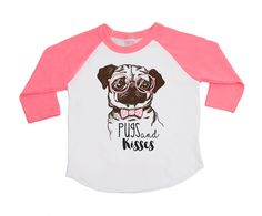 Pugs Shirts - Pugs and Kisses - Unisex Children's shirts - Trendy kids shirts - Dog Shirts - Dogs - Pug Lovers - Raglan Shirt - Graphic Tees by VazzieTees on Etsy https://www.etsy.com/listing/484251455/pugs-shirts-pugs-and-kisses-unisex  DISCOUNT code ANNABELLE15 on all Vazzie Tees purchases
