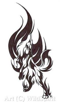 Fire/ tribal wolf tattoo for forearm