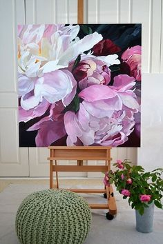 Ink Drawing SOLD - 101 x Deep Edge Canvas Acrylics with Oil Glaze floral Jenny Fusca painting. Best Paint For Canvas, Oil Painting Flowers, Watercolor Flowers, Art Flowers, Purple Flowers, Cool Paintings, Deep Paintings, Realistic Paintings, Botanical Art