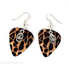 Wild Life Guitar Pick Earrings Leopard $13