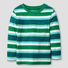 Toddler Boys' Long Sleeve T-Shirt Cat & Jack - Green Stripe 3T, Toddler Boy's