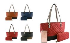 #FashionHandbags #DesignerHandbags #Designertotebag  #Designertotebags #tote   #totebag   #womantotebag    WWW.WHOLESALENEOBAGS.COM  LI3369 DESIGNER 2 IN 1 QUILTED TWO TONE TOTE BAG  Zipper top closure  Textured faux leather  Protective metal foot base  Inside lining with open/zipper pockets  28 inch handles  17.5 (W) x 5 (D) x 10 (H) inches  Extra wallet  8 (W) x 2 (D) x 4 (H) inches  Compare with iPhone 6s Plus