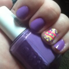 my style pinboard my Easter nails :) purple is Essie in Play Date, yellow is Orly in Lemonade, blue dots are Wet N Wild in I Need a Refresh-Mint  the pink is Kiss hot pink w/ script brush (it came in a 3 pack with green and blue)