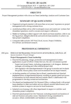 sample resume for project management focus on team leadership analysis and customer care - Resume Professional Profile