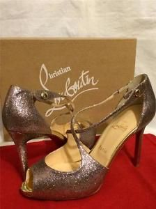 Christian Louboutin WRAP GLITTER 100 Silver Gold Heels Pumps Sandals Shoes $875 | eBay