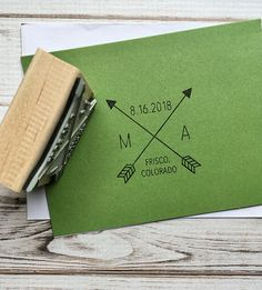 Wedding Stamp Save the Date with Initials Crossed Tribal