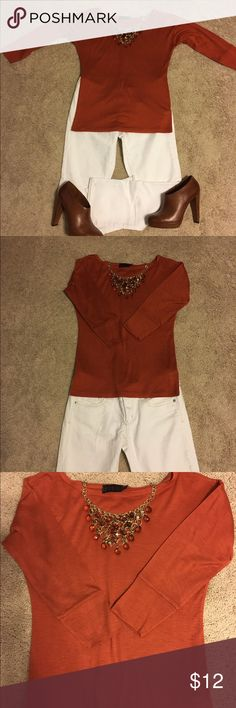 Forenza for The Limited Rust 3/4 Sleeve Top Only worn once, dry cleaned once, Forenza, rust colored 3/4 Sleeve top. Super cute!! Size XS Forenza Tops