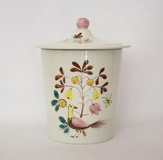 SALE Vintage Secla Portugal Folk Art Lidded Ceramic Jar with Bird and Fruit Tree Partridge, Pear tree - pinned by pin4etsy.com