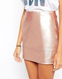 Enlarge ASOS Mini Skirt In Leather Look In Rose Metallic