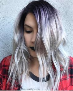 """719 Likes, 6 Comments - Hair Makeup Nails Beauty (@hotforbeauty) on Instagram: """" So sexy!  Purple shadow root and platinum blond hair.  Hair color and wicked lob by…"""""""