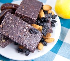 This looks interesting to try for a quick on the go snack - Raw Coconut Blueberry Lemon Bars