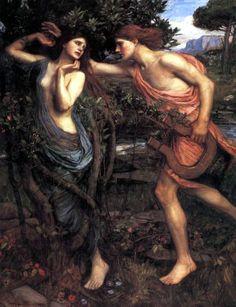 John William Waterhouse - Apollo and Daphne. Tags: apollo, apollon, daphne, dafne, naiads, nymphs, transformations,