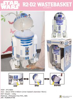 R2-D2 Waste basket (Star Wars)    I thought R2-D2 was a walking, beeping trashcan when I was little