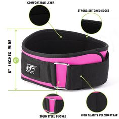 """Amazon.com : RitFit 6""""Inches Pink Weigh Lifting Belt for Women Gym, Fitness, Crossfit, Bodybuilding - Great for Squats, Lunges, Deadlift, Thrusters : Sports & Outdoors"""