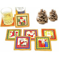 Gold red mug rug Christmas quilted drink coasters Set of 6 santa... ($31) via Polyvore featuring home and kitchen & dining