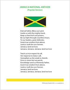 Jamaica National Anthem Jamaica Land We Love Jamaica Culture, Jamaica National, Jamaica History, World Thinking Day, Jamaican Recipes, Caribbean Sea, West Indies, Island Life, Beautiful Islands