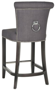 Safavieh Furniture HUD8241A - Dressed up with silver nail heads, foot rest and a clever metal ring on its back, the Addo ring counter stool is shown in charcoal linen-weave poly fabric