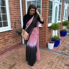 Saree material bought from Joshi in Wembley Crop Top from Bag from Earrings and shoes Trendy Sarees, Stylish Sarees, Fancy Sarees, Saree Draping Styles, Saree Styles, Saris, Sarees For Girls, Modern Saree, Silk Saree Blouse Designs