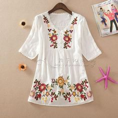 Women Embroidery Boho Blouse - 2 Colors Embroidery Tools, Machine Embroidery Designs, Crewel Embroidery Kits, Embroidery Patterns Free, Womens Clothing Stores, Clothes For Women, Mexican Dresses, Plus Size Casual, Cotton Shirts