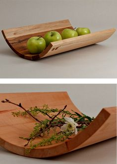 Wooden fruit bowl SWING by Holzwerkstatt Moser Wooden Furniture, Furniture Design, Wood Projects, Woodworking Projects, Wooden Fruit Bowl, Woodworking Inspiration, Wood Bowls, Wooden Kitchen, Wood Design