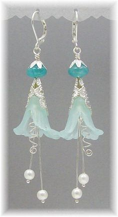 "Blue Ice Fairy Flower earrings made from lucite flowers, filigree, glass pearls, Zambian aquamarine and silver plated findings. Has lever back earwires and measures approximately 2 ⅜"" long ~ delicate and dainty :-)"