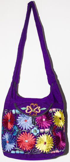"GUATEMALA HAND EMBROIDERED FLOWER PURSE HOBO BAG 100% COTTON 2 COMPARTMENTS MEASURES 15"" WIDE FROM STRAP TO BOTTOM 33"" STRAP DROP 20"" THIS IS HAND MADE BY THE BEAUTIFUL WOMAN IN GUATEMALA (SIZE AND CO"