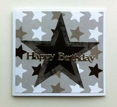 Card MFT stitched stax stars - scripty words & letters CREAlies Happy Birthday