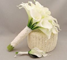 Calla lily wedding bouquet corsage the PU by BridalBroochBouquet, $53.00