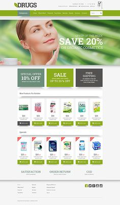 Drugstore green #template, ideal for medical care or medicines pharmacy #webshop. #themes #business