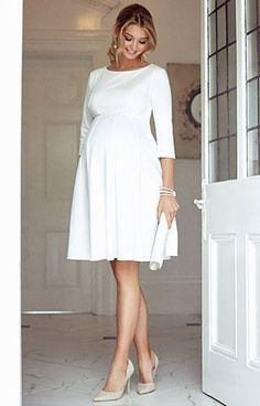 Sienna Maternity Dress Short Cream – Maternity Wedding Dresses, Evening Wear and Party Clothes by Tiffany Rose – Schwanger Kleidung Cute Maternity Outfits, Stylish Maternity, Pregnancy Outfits, Maternity Wear, Maternity Fashion, Maternity Wedding, Pregnancy Tips, Pregnancy Dress, Pregnancy Journal