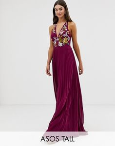 9d9e0897d589 ASOS Tall   ASOS DESIGN Tall embroidered maxi dress with halter neck and  pleated skirt Bridesmaid