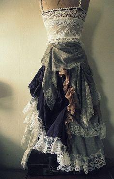 Full length ruffled skirt by NaturallyBohemian on Etsy