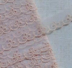 Vintage Lace Trim Pink Eyelet Lace Pink Organza by dishyvintage, $3.00