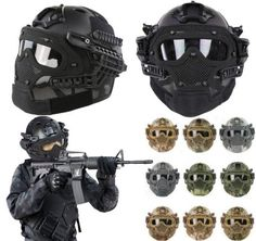 #Airsoft paintball tactical fast #helmet mask goggles g4 system #protective…
