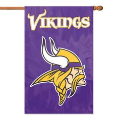 """NFL Minnesota Vikings Applique Banner Flag - Oversized 44"""" x 28"""" true 2-sided house banner flag made of heavyweight weather-resistant 420 denier nylon. High quality applique & embroidery makes this flag fly high above the competition. Comes with sleeve for hanging on standard house flagpole and also has hang tabs for added versatility. Item Dimensions: 28L x 0.5W x 44H Package Dimensions: 12L x 7W x 1H Color: purple. Gifts > Licensed Gifts > Nfl > Minnesota Vikings. Weight: 1.00"""