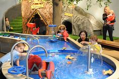Indoor treehouse and interactive water table.  Probably not a great idea with all of the tech we've got lying around, but the (big) kids would love it!