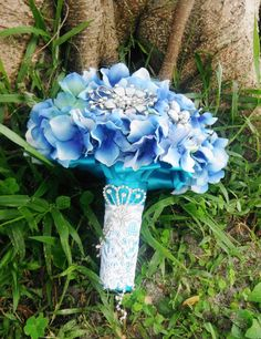 Blue Wedding Bouquet with Silver Brooches by AngelicasBridal, $280.00