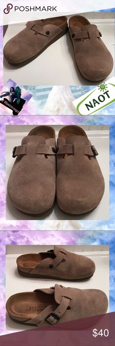 Women's Naot Suede Clogs Made In Israel 37/7 Women's Naot Clogs Suede Made In Israel 37/Large. Classic-styled, open back clog is a great addition to your wardrobe and your lifestyle. Comfortable shoe has adjustable strap for a more personalized fit. Suede upper is exceptionally comfortable. With suede-lined cork footbed and shock-absorbing EVA outsole for better-than-barefoot comfort. These have been worn. In Good worn Condition with some markings to Suede. Size 37/Large or 7US. 🚫trades…