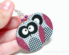 Checkered Owl dangle Round decoupage earrings grey and