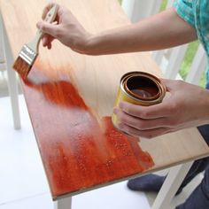 Learn how to use paint stripper to undo any paint job. Check the blog for the before  after where these tables go from painted to stained!