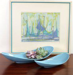 French Blue Juggler Platter transitional-waste-baskets