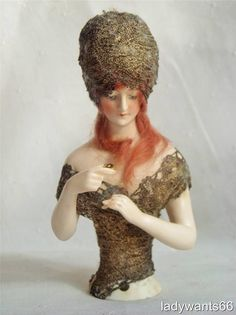 RARE Exceptional Antique Goebel Bisque Wigged Pin Cushion Half Doll