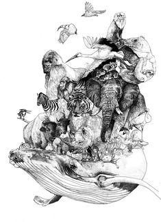 Endangered species Art Print by lehalls - X-Small Extinct Animals, Rare Animals, Wild Animals, Animal Sketches, Animal Drawings, Small Wild Cats, A Level Art Sketchbook, Stippling Art, Rare Birds