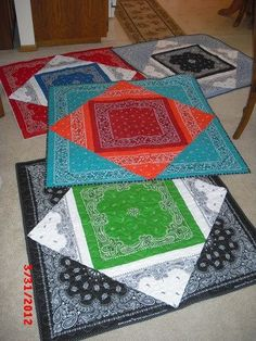 """Bandana quilts! You need one for the center, one for the """"middle layer"""", cut in cross from corners, and two for the corners, cut into triangles from corner to corner. I like bandanas"""
