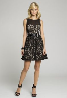 Homecoming and Prom Dresses - Two-Tone Lace Short Dress A-Line with Illusion Neckline from Camille La Vie and Group USA
