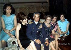 Royal Family of Iran, From right to left: Princess Shams Pahlavi, Princess Ashraf Pahlavi, the Queen mother, H.I.M. Mohammad Reza Shah Pahlavi, Shahanshah Aryamehr, H.I.M. Shahbanou Farah Diba Pahlavi, (The Shah and Queen of Iran), and Princess Fatemeh Pahlavi, Tehran, Iran 1960's, Ashraf Pahlavi, King Of Persia, Pahlavi Dynasty, Farah Diba, The Shah Of Iran, Persian Pattern, No One Is Perfect, Queen Mother, Royal Fashion